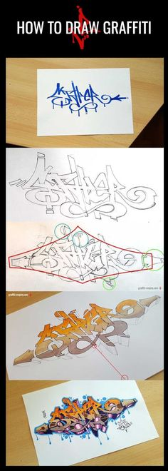 Tutorial: How to draw Graffiti - every step of creating a Graffiti with pictures and descriptions. You will learn step by step how to draw Graffiti for beginners. Use predefined letters to create a Graffiti Tag and transform it into a Graffiti Piece. Alphabet Graffiti, Graffiti Font, Graffiti Tagging, Graffiti Drawing, Graffiti Styles, Graffiti Pictures, Graffiti Designs, Drawing Art, Street Art Graffiti