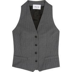 Pallas Hadar pinstriped wool vest (7.350 VEF) via Polyvore featuring outerwear, vests, grey, gray vest, slim vest, woolen vest, wool vest y wool waistcoat