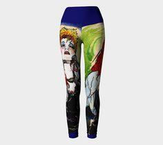 Cyndi Large Print Asymmetric Leggings (wide waistband)