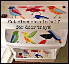 Use plastic placemats as fridge shelf liners for easy clean-up