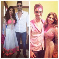 Sunny Leone with husband Daniel Weber celebrate Holi. #Bollywood #Fashion #Style #Beauty #Holi