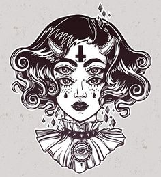 Buy Devil Girl Portrait with Gothic Collar, Four Eyes. Devil girl head portrait with gothic collar and four eyes. Four eyed lady is an ideal Halloween, tattoo, wierd, psych. Head Tattoos, Girl Tattoos, Hair Horn, Gothic Hairstyles, Cross Tattoo Designs, Dark Tattoo, Four Eyes, Illustration Girl, Psychedelic Art