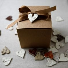 pretty porcelain heart tag on kraft box - great packaging idea