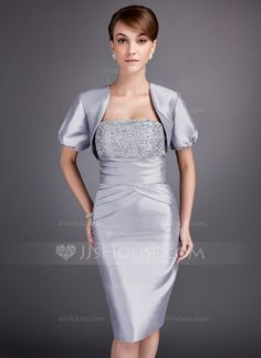 [€ 112.85] Sheath/Column Strapless Knee-Length Taffeta Mother of the Bride Dress With Ruffle Lace Beading (008005750)