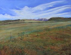 """Blue sky stops this lush Texas ranchland from rolling right off your wall """"In Green Pastures"""" 5""""x7"""" signed Lindy Severns giclee 