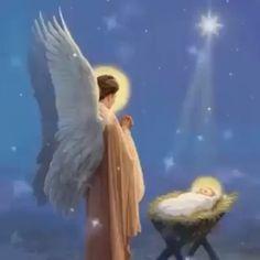 Merry Christmas Jesus, Christmas Blessings, Beautiful Flowers Wallpapers, Beautiful Gif, Angel Pictures, Jesus Pictures, Christmas Scenery, Christmas Art, Birth Of Jesus