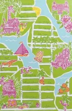 Preppy forever: From the upcoming Lilly Pulitzer Estate Auction. A Printed Canvas Whimsical Map of Palm Beach, 36 x 24 inches. Lilly Pulitzer Patterns, Lilly Pulitzer Prints, Lily Pulitzer, Palm Beach Florida, West Palm Beach, Life In Paradise, Happy Art, Back Home, Palm Springs