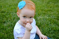 Turquoise with White Dots Simply Sweet Shabby Band - Shabby Chic Chiffon Flower Headband. $3.20 USD, via Etsy.