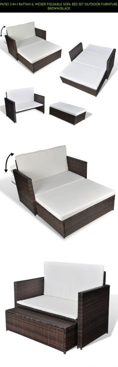 Patio 3-in-1 Rattan & Wicker Foldable Sofa bed Set Outdoor Furniture Brown/Black #sets #drone #patio #camera #gadgets #3 #parts #fpv #racing #tech #kit #shopping #products #technology #plans #furniture