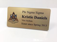 custom printed nametags (magnet back) are clean, classic and can be used post-recruitment (think: philanthropy event, faculty appreciation brunch) - this is a great investment if you chapter does many events like this