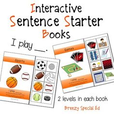 """I Play"" Interactive / Adapted Sentence Starter Book - special education and speech therapy"