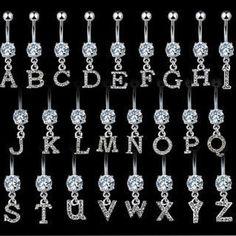 Initial Pave Clear Gem Belly Ring Navel Letter (w470) | Joias, bijuterias e relógios, Bijuteria, Joias e bijuterias para o corpo | eBay!
