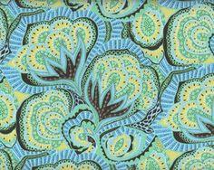 Patchworkstoff HAPI OASIS, Riesen-Ornament-Blüten, mintgrün-hellblau