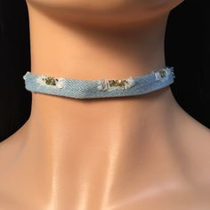 Distressed Denim Choker - Light wash  Adjustable with lobster clasp & extender chain...   https://nemb.ly/p/Vk43=hp2Z Happily published via Nembol
