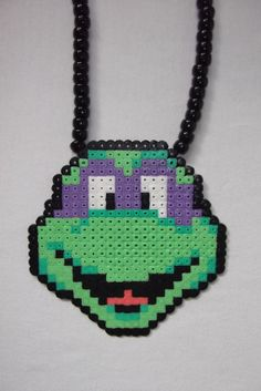 TMNT Donatello necklace perler beads by BIGBEADSUK