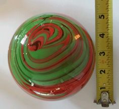 Marble paperweight large great condition green and red