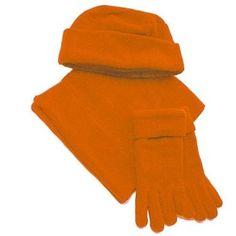 Orange Polar Fleece 3 Piece Scarf Hat  Glove Set
