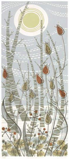 Angie Lewin. Winter Birches. Motifs can be used or repeated for reflections/mirror images