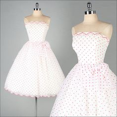 Vintage 1950s Dress  White Chiffon  Red Polka by millstreetvintage, $325.00