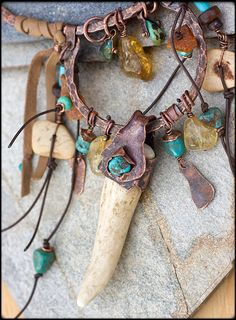 Copper and Antler Talisman necklace: Unique by AnniamAeDesigns
