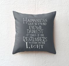 ★ Throw pillow case >>> Harry Potter - Albus Dumbledore quote  ★ Size >>> 16x16  Happiness can be found even in the darkest of times if one only remembers to turn on the LIGHT 100% spun polyester poplin fabric Double-sided Print Finished with a concealed zipper  Please note: Does not include pillow insert Colors may vary slightly as displayed on your monitor  Our pillow cases are made to order Designs are hand lettered by us and produced by a third party company in the US Please allow a few…