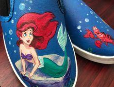 f995bcded190 Handpainted Custom Vans Slip On Shoes Sneakers (ADULTS) - Disney s The  Little Mermaid feat. Ariel