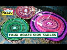 Learn my easy technique for painting faux agate on wood slices to make chic side tables! I used Walnut Hollow Basswood Country Rounds (THICK) to make these side… Crafts To Sell, Fun Crafts, High Top Tables, Side Tables, Pub Table Sets, Pub Set, Diy Holz, Artist Trading Cards, Diy Table