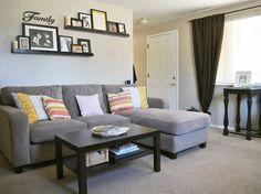 Image result for 2 staggered shelves above couch