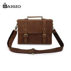 "67.32$  Watch now - http://ali8iz.worldwells.pw/go.php?t=32484098303 - ""Baigio Mens 13"""" Laptop Briefcase Bag Vintage Brand Designer Leather Men Messenger Bags Tote Satchel Travel Shoulder Bag Male"" 67.32$"