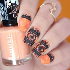 Freehand tribal pattern on a dry brush base, featuring @rimmellondonuk Peachella as my base color. Go to my blog to see more pictures plus read some info about this manicure.  Ring is from @lyla_loves , you can find a 20% off link to their website on my blog post (title: Feelin' Peachy). #nailart #rimmel #rimmellondon #nailartwow #polishlicious #craftyfingers #nails2inspire #nailitdaily #nailsofinstagram #nailsoftheday