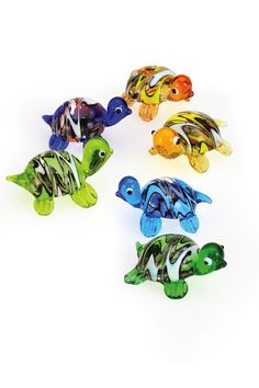 """Our Mini Turtles are adorable with their richly colored bodies and coordinating striped shells. Each box includes six assorted pieces about 1 to 1 1/2"""" long. Really cute, little guys."""