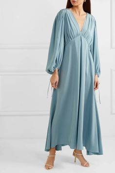 Blue Sante gathered silk crepe de chine maxi dress | The Row | NET-A-PORTER Trendy Outfits, Fashion Outfits, Western Dresses, Silk Crepe, Muslim Fashion, Curvy Fashion, Street Style Women, The Row, Fashion News