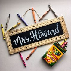 ***All new orders will ship no sooner than Monday, June Personalized Teacher Sign -Measures -Handmade -Hand lettered -Chalkboard base -Jute twine hanger *Please add the desired teacher name in the Notes to Seller space! *If you would like multiple signs, Homemade Gifts, Diy Gifts, Teacher Name Signs, Diy Cadeau Noel, Gifted Education, Physical Education, Character Education, Teacher Appreciation Week, Employee Appreciation