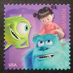 4480 - Framed Postage Stamp Art - Sulley - Mike Wazowski - Boo - Monsters - United States - Movies and Entertainment Monster Usa, Stamp World, Old Letters, Mike Wazowski, Postage Stamp Art, Love Stamps, Monsters Inc, Cute Disney, Stamp Collecting