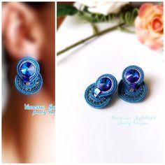 Fabric Jewelry, Boho Jewelry, Beaded Jewelry, Jewelry Design, Soutache Pendant, Soutache Necklace, Small Earrings, Diy Earrings, Embroidery Jewelry