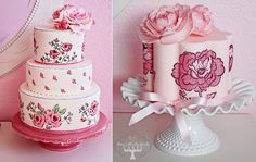 """As featured in """"Hand-Painted Cakes"""" on Cake Geek Magazine. (Cakes by Three Little Blackbird Cakes). For more, see: http://cakegeek.co.uk/index.php/hand-painted-cakes/"""