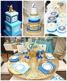 Royal Baby Shower : All Blue! Shower Party, Baby Shower Parties, Baby Shower Themes, Baby Shower Decorations, Shower Ideas, Balloon Decorations, Royalty Baby Shower, Baby Shower Princess, Baby Shower Cakes