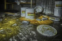 Buckets of spilled mayonnaise in the cellar of an old, abandoned school. Urban Exploration, Mayonnaise, Buckets, Cellar, Decay, Abandoned, School, Photography, Food