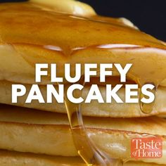 "FLUFFY PANCAKES RECIPE ****** ""I found this fluffy pancake recipe among our old family favorites, and adapted it to make a small amount. Yummy Appetizers, Yummy Snacks, Yummy Food, Yummy Eats, Tasty Videos, Food Videos, Breakfast Recipes, Dessert Recipes, Snacks"