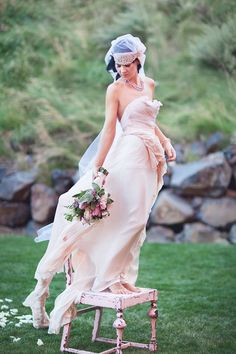 Before Sunrise  One off  Royal Blush Wedding Gown  by clairelafaye