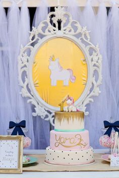 Whimsical unicorn birthday party! See more party ideas at CatchMyParty.com!