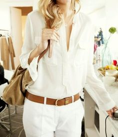 Monochrome look with camel belt. Simple and polished go-to workwear. Collared blouse. Tailored flare trouser or jean trouser. Preppy belt.