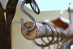 wood hanging pot rack