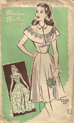 Vintage 40s Mail Order Sewing Pattern Marian Martin 9245 Dress or Gown Size 13