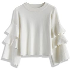 Chicwish White Knit Top with Tiered Frilling Sleeves (430 SEK) ❤ liked on Polyvore featuring tops, white, white tiered top, ruffle sleeve top, drop-shoulder tops, flutter sleeve top and knit tops