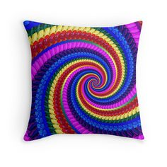 Rainbow Psychedelic Spiral Fractal Pattern Pillow