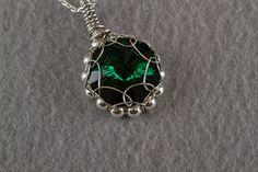 Green Crystal Rivoli Pendant by PiccolinaJewelry on Etsy, $30.00
