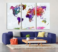 3 panel split abstract world map canvas print15 deep frames 3 panel split abstract world map canvas print15 deep framestriptych yellow and blue map for homeoffice wall decor interior design gumiabroncs Image collections