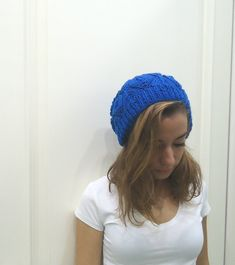 Hand Knitted BLUE slouchy beanie beret Ready to Ship by MARYsworks