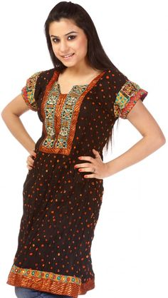 Black Bandhani Tie-Dye Kurti from Gujarat with Applique Work